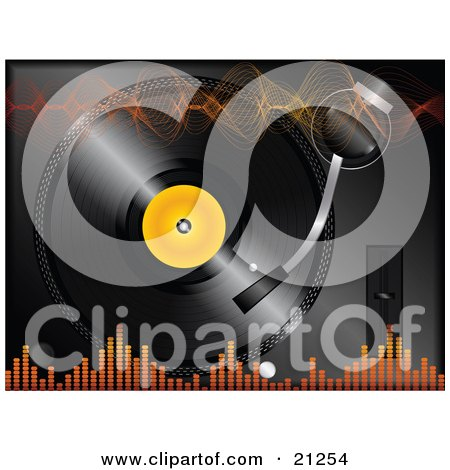 Clipart Illustration of Orange Sound Waves And Equalizer Volume Lines Over A Background Of A Vinyl Record Playing by elaineitalia
