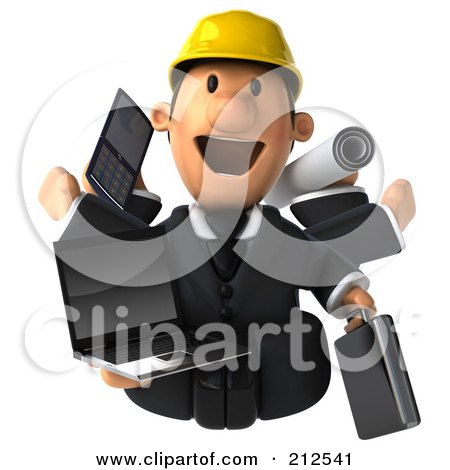 Royalty-Free (RF) Clipart Illustration of a 3d Architect Man Multi Tasking - 1 by Julos