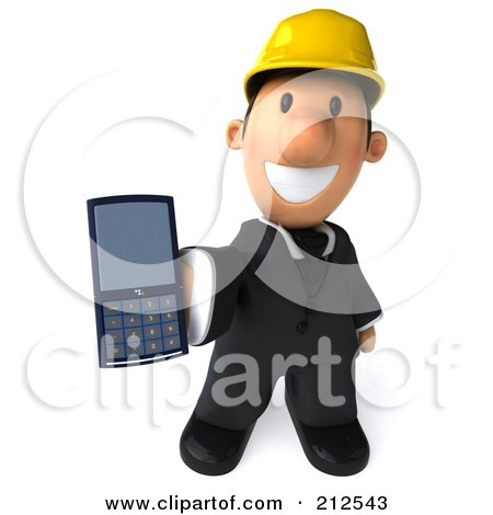 Royalty-Free (RF) Clipart Illustration of a 3d Architect Man Facing Front And Holding Out A Cell Phone by Julos
