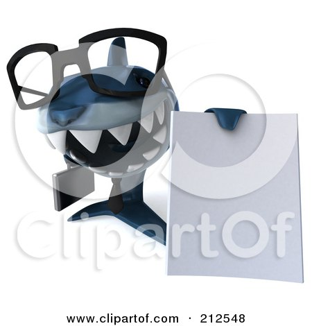 Royalty-Free (RF) Clipart Illustration of a 3d Blue Shark Businessman Holding A Blank Document by Julos