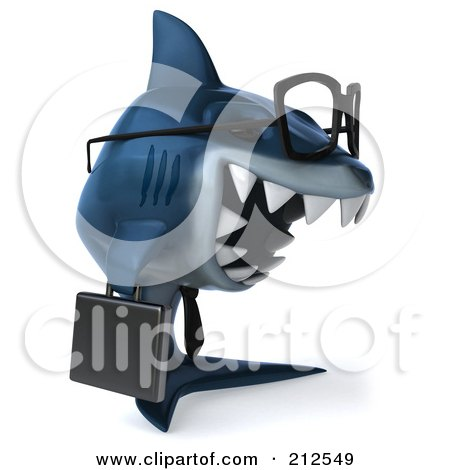 Royalty-Free (RF) Clipart Illustration of a 3d Blue Shark Businessman Wearing Glasses And Facing Right by Julos