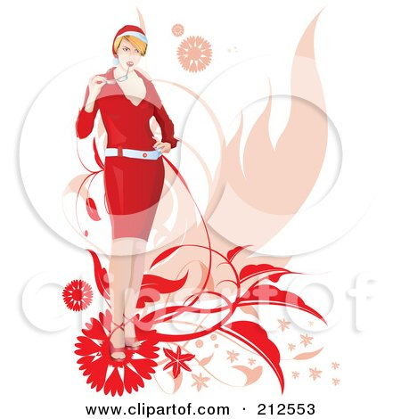 Royalty-Free (RF) Clipart Illustration of a Stylish Christmas Woman Chewing On Her Glasses, With Foliage by YUHAIZAN YUNUS