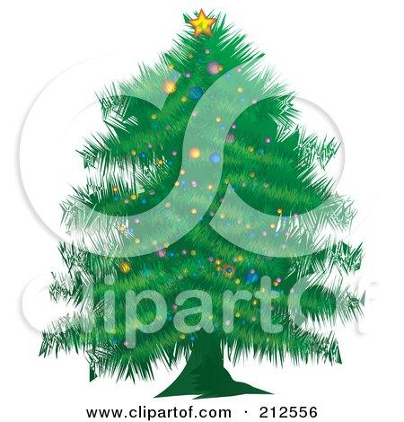 Royalty-Free (RF) Clipart Illustration of a Trimmed Green Christmas Tree by YUHAIZAN YUNUS