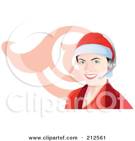 Royalty-Free (RF) Clipart Illustration of a Call Center Woman Wearing A Santa Hat And Headset by YUHAIZAN YUNUS