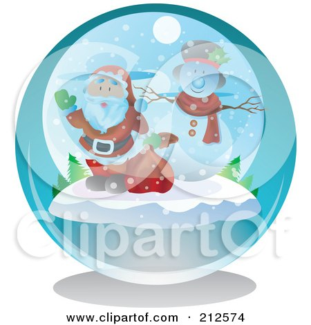 Royalty-Free (RF) Clipart Illustration of a Waving Santa And Snowman In A Snow Globe by YUHAIZAN YUNUS