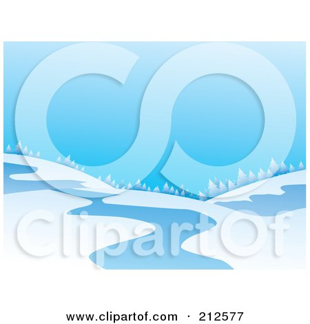Royalty-Free (RF) Clipart Illustration of a Winter Landscape Of A Treeline On Hills Near A Stream by YUHAIZAN YUNUS
