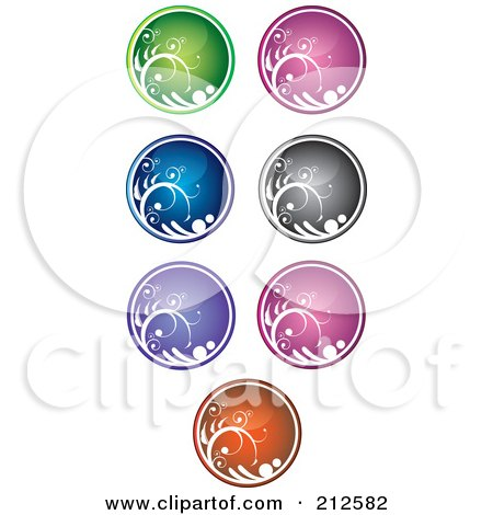 Royalty-Free (RF) Clipart Illustration of a Digital Collage Of Shiny Colorful Vine Website Or App Icon Buttons by YUHAIZAN YUNUS