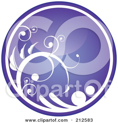 Royalty-Free (RF) Clipart Illustration of a Shiny Purple Vine Website Or App Icon Button by YUHAIZAN YUNUS