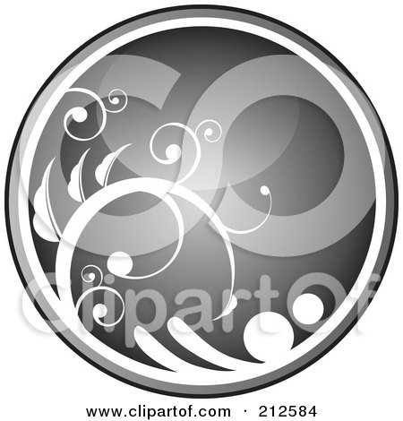 Royalty-Free (RF) Clipart Illustration of a Shiny Gray Vine Website Or App Icon Button by YUHAIZAN YUNUS