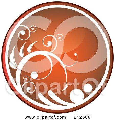 Royalty-Free (RF) Clipart Illustration of a Shiny Orange Vine Website Or App Icon Button by YUHAIZAN YUNUS