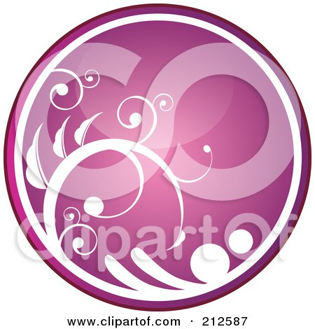 Royalty-Free (RF) Clipart Illustration of a Shiny Pink Vine Website Or App Icon Button by YUHAIZAN YUNUS