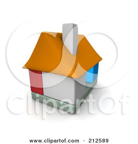 Royalty-Free (RF) Clipart Illustration of a 3d Block House by Jiri Moucka