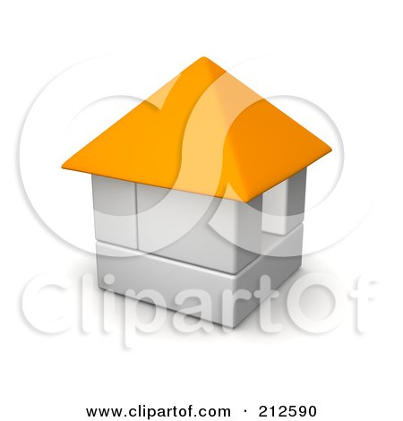 Royalty-Free (RF) Clipart Illustration of a 3d Block House With An Orange Roof by Jiri Moucka