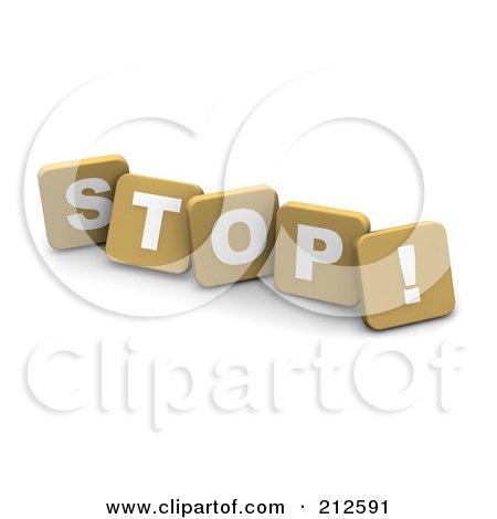 Royalty-Free (RF) Clipart Illustration of 3d Tan Blocks Spelling STOP by Jiri Moucka