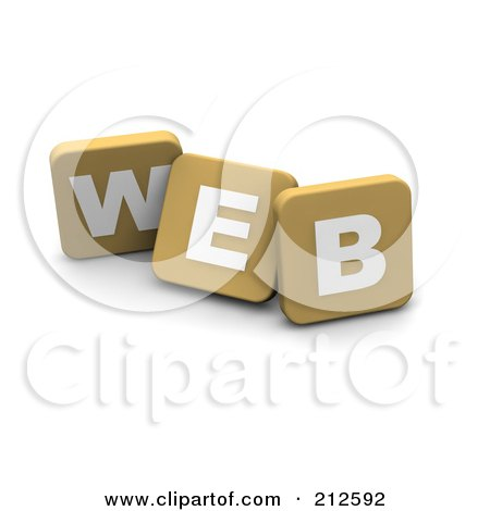 Royalty-Free (RF) Clipart Illustration of 3d Tan Blocks Spelling WEB by Jiri Moucka