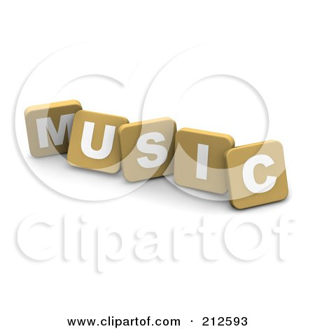 Royalty-Free (RF) Clipart Illustration of 3d Tan Blocks Spelling MUSIC by Jiri Moucka