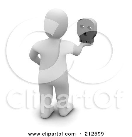 Royalty-Free (RF) Clipart Illustration of a 3d Blanco Man Facing Away And Holding A Skull by Jiri Moucka