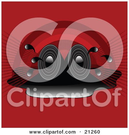 Clipart Illustration of Two Stereo Speakers In A Puddle, Blaring Loud Songs Over A Red Rainbow Background by elaineitalia