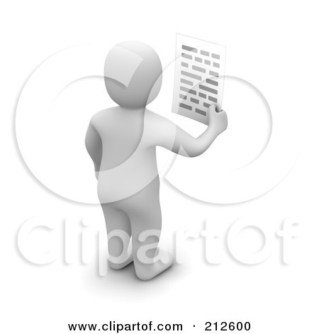 Royalty-Free (RF) Clipart Illustration of a 3d Blanco Man Facing Away And Holding A Letter by Jiri Moucka