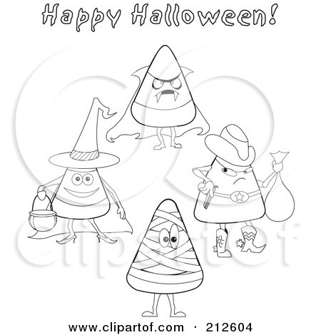 Royalty-Free (RF) Clipart Illustration of a Digital Collage Of Outlined Halloween Candy Corn In Costumes by erikalchan