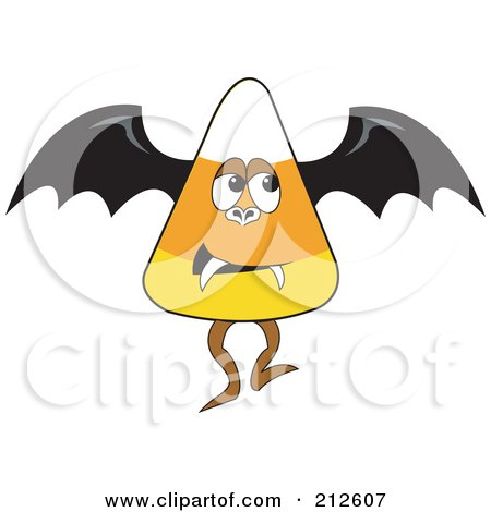 Royalty-Free (RF) Clipart Illustration of a Halloween Candy Corn In A Vampire Bat Costume by erikalchan
