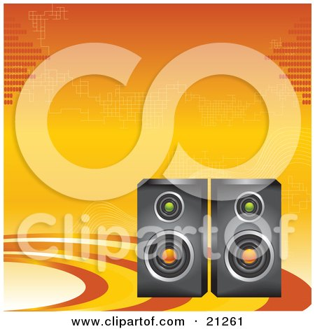 Clipart Illustration of Two Radio Speakers On An Orange And Yellow Background by elaineitalia