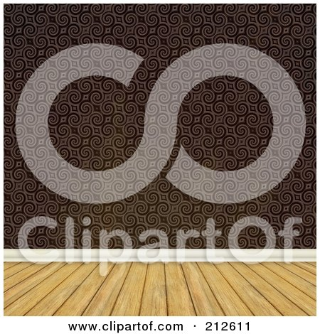 Royalty-Free (RF) Clipart Illustration of a Background Of A Wood Floor And Brown Baroque Wallpaper Wall by Arena Creative