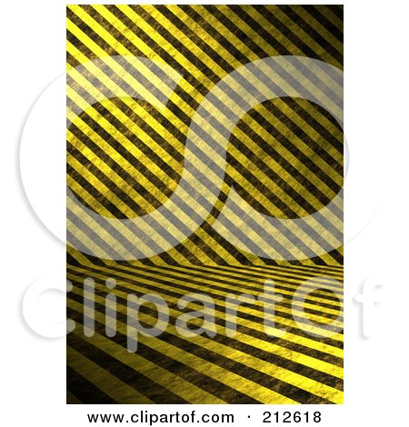 Royalty-Free (RF) Clipart Illustration of a Background Of Grungy Yellow And Black Hazard Stripes Crossing by Arena Creative