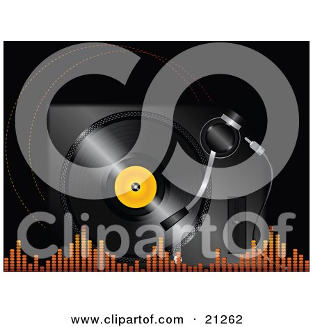 Clipart Illustration of a Black Vinyl Record With An Orange Center Spinning In A Player With Orange Equalizer Lines Along The Bottom by elaineitalia