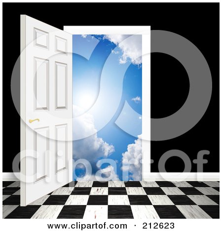 free clipart door. Royalty-free clipart picture of a checkered floor and an open door leading