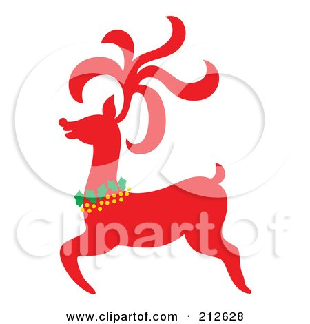 Royalty-Free (RF) Clipart Illustration of a Red Christmas Reindeer - 3 by Cherie Reve