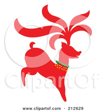 Royalty-Free (RF) Clipart Illustration of a Red Christmas Reindeer - 1 by Cherie Reve