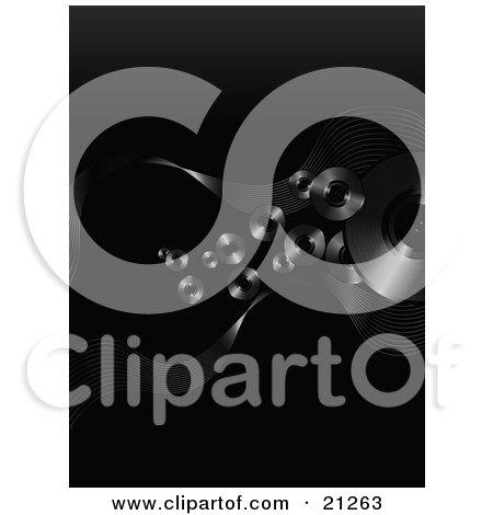 Clipart Illustration of a Black Background Of Floating Black Vinyl Record Discs by elaineitalia