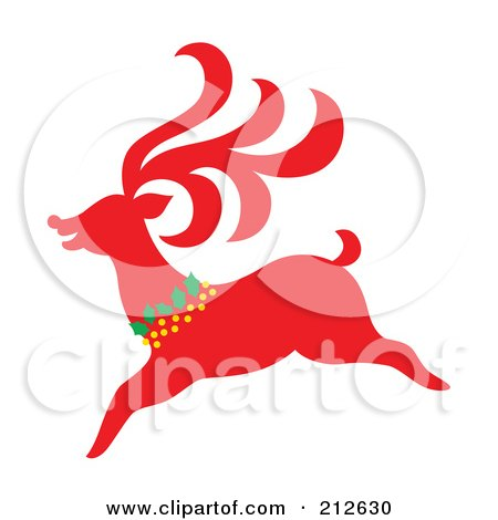Royalty-Free (RF) Clipart Illustration of a Red Christmas Reindeer - 4 by Cherie Reve