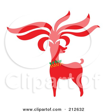 Royalty-Free (RF) Clipart Illustration of a Red Christmas Reindeer - 5 by Cherie Reve