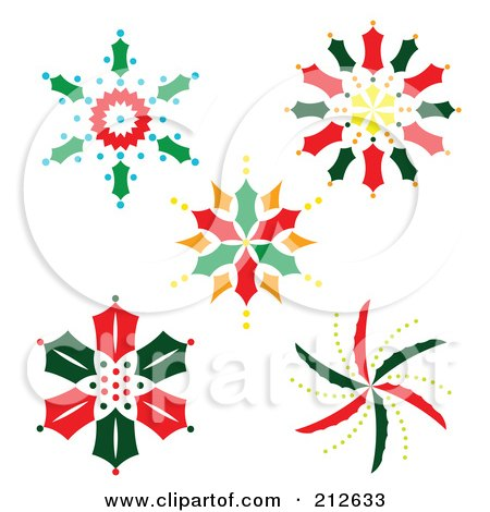 Royalty-Free (RF) Clipart Illustration of a Digital Collage Of Colorful Christmas Snowflake Designs - 1 by Cherie Reve