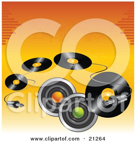 Clipart Illustration of a Cable Curving Around Music Speakers And Vinyl Records Over An Orange Background by elaineitalia