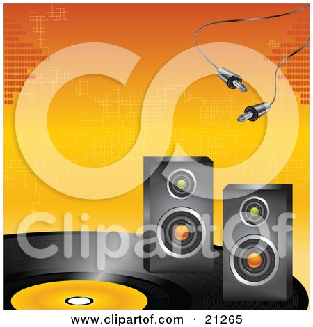 Clipart Illustration of Cables Over Two Radio Speakers On A Large Vinyl Record, On An Orange Background by elaineitalia