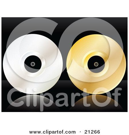 Clipart Illustration of a Platinum And Gold Vinyl Record Discs On A Black Reflective Surface by elaineitalia