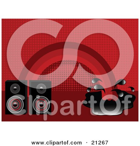 Clipart Illustration of Two Radio Speakers In Front Of A Red Background With A Rainbow Splashing Into A Puddle by elaineitalia