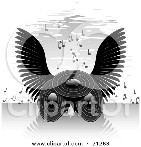 Clipart Illustration of Three Speakers With Black Angel Wings, Blaring Loud Songs With Musical Notes by elaineitalia
