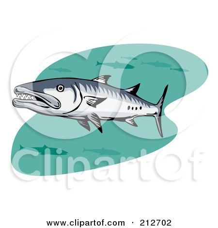Royalty-Free (RF) Clipart Illustration of Swimming Barracuda Fish by patrimonio