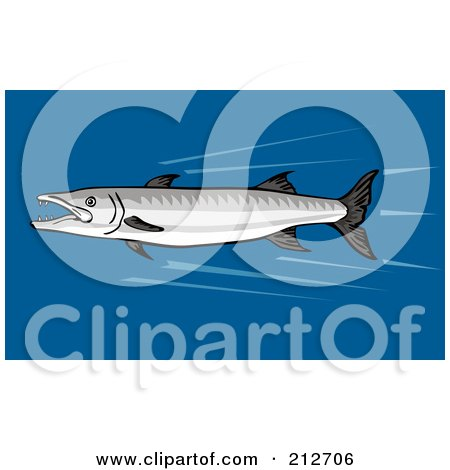 Royalty-Free (RF) Clipart Illustration of a Fast Swimming Barracuda Fish by patrimonio