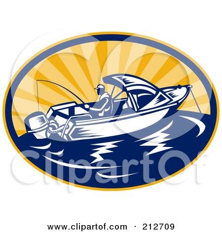 Royalty-Free (RF) Clipart Illustration of a Fishing Boat Logo by patrimonio