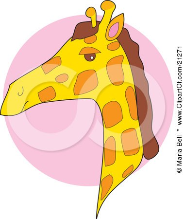 Clipart Illustration of a Giraffe Head In Profile Over A Pink Circle by Maria Bell