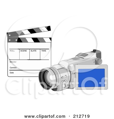 Royalty-Free (RF) Clipart Illustration of a Clapperboard And Video Camera by patrimonio