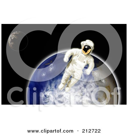 Royalty-Free (RF) Clipart Illustration of a Floating Astronaut By Earth by patrimonio