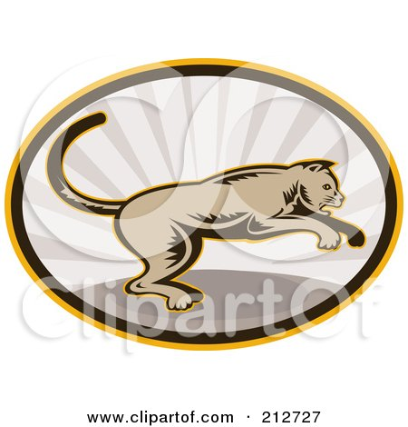 Royalty-Free (RF) Clipart Illustration of a Jumping Cougar Logo by patrimonio