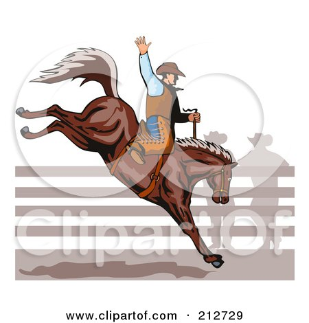 Royalty-Free (RF) Clipart Illustration of a Rodeo Cowboy Riding A Horse - 1 by patrimonio