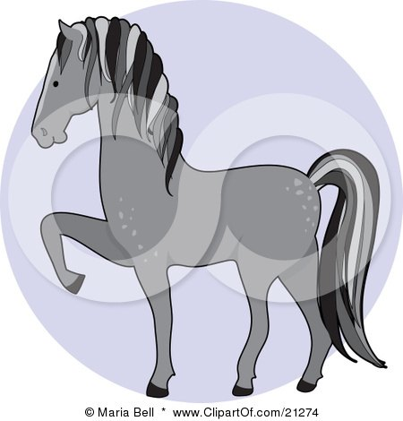 Clipart Illustration of a Prancing Gray Dapple Horse In Profile Over A Blue Circle by Maria Bell